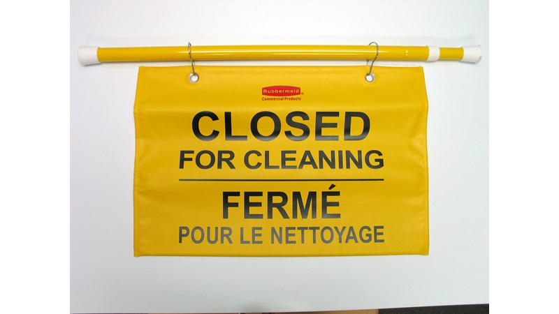 """Closed For Cleaning"" hanging sign is on an extendable pole to block doorways and entrances up to 50"" wide and utilizes ANSI/OSHA-compliant Colour"