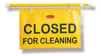 """""""Closed For Cleaning"""" hanging sign is on an extendable pole to block doorways and entrances up to 127cm wide and utilizes ANSI/OSHA-compliant colour"""