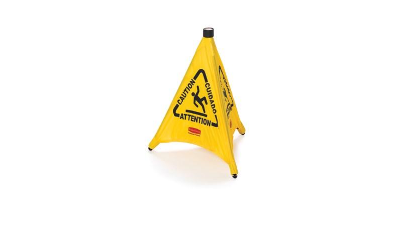 Das zusammenklappbare Schild entfaltet sich automatisch, wenn es aus der an der Wand montierten Aufbewahrungshülle genommen wird. Mehrsprachige Sicherheitskommunikation in ANSI-/OSHA-konformer Farbe und Grafiken