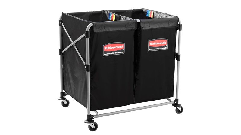 The Rubbermaid Commercial 1881781 Executive Series Multi-Stream, Collapsible X-Cart Basket, Two 4-Bushel bags, 220 lbs load capacity, Black.