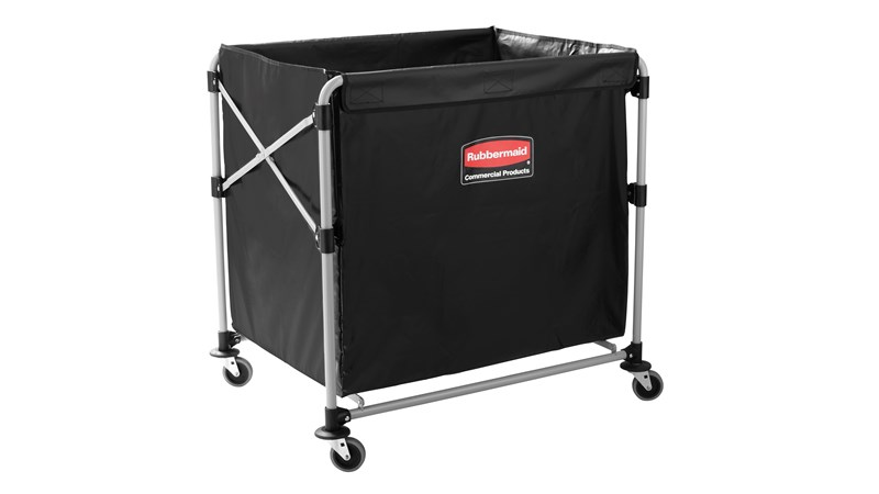 The Rubbermaid Commercial 1881750 Executive Series Collapsible X-Cart Basket, 8-Bushel, 220 lbs load capacity, Black.
