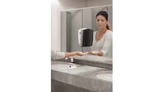 The AutoFoam Dispenser is a touch-free, wall-mounted system that dispenses controlled amounts of foam soap or Sanitiser automatically to help prevent the spread of germs.