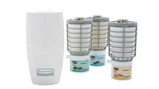 The Rubbermaid Commercial TCell™ is an odour control system that utilizes advanced fuel cell technology to deliver a precise, timed dose of high-quality fragrance for up to 60 days.