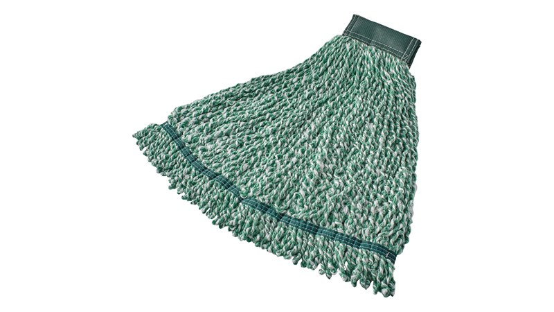 The Rubbermaid Commercial Web Foot® Microfibre Mop features continuous filament bi-component Microfibre that cleans, absorbs, and releases quickly and easily.
