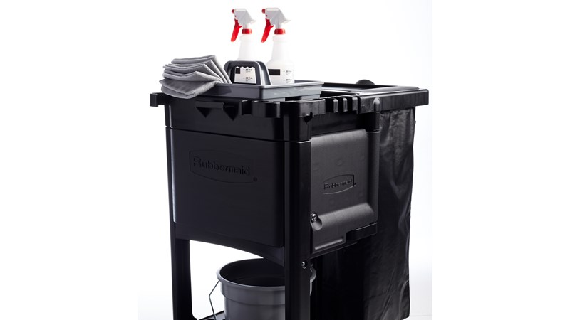 The Rubbermaid Commercial Executive Janitorial Cleaning Cabinet for Traditional Carts conceal and secure supplies to keep patrons safe while providing a professional presents.