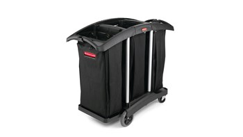 The Rubbermaid Commercial Janitorial Cleaning Cart with triple waste capacity provides location for three 129 l High-Capacity Vinyl Bags provides multi-stream sortation.