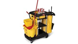 Le chariot de ménage grande capacité Rubbermaid constitue une solution personnalisable et spacieuse qui permet d'ajouter des accessoires supplémentaires pour répondre à vos besoins.