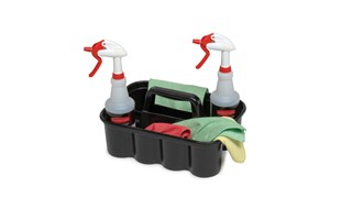 All-purpose caddy is perfect for carrying tools or cleaning supplies. Heavy-duty caddy conveniently fits on cleaning and housekeeping carts. Securely holds up to eight 946ml spray bottles and other common cleaning tools.