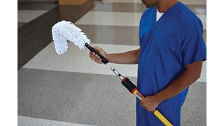 The Rubbermaid Commercial HYGEN™ Microfibre Quick-Connect Flexi-Wand and Duster helps easily clean vents, furniture, bed covers, uniquely shaped fixtures, and more.