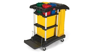 The Rubbermaid Commercial High-Capacity Janitorial Cleaning Cart with Bins is a complete system solution for your cleaning needs.