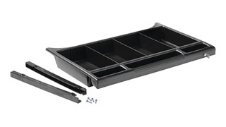 The Rubbermaid Commercial Products Executive Locking Drawer for Traditional Housekeeping Carts provides organization and security for supplies and amenities throughout the housekeeping process.