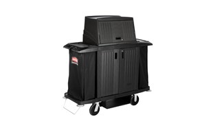 The Rubbermaid Commercial Products Locking Hood for Executive Traditional Housekeeping Carts secures and conceals supplies and amenities stored on the top of the cart.