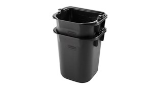The Rubbermaid Commercial 4.7L Heavy Duty Pail for Cleaning Carts provides a quick and easy way to clean in tight places.
