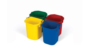 The Rubbermaid Commercial 4-Pack of 4.7L Disinfecting Pails reduces cross contamination risk and comes in four colours (blue, red, yellow, green).
