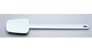 Multi-purpose 24cm spoon-shaped spatula designed for unheated applications of scraping, scooping, and spreading in food preparation.