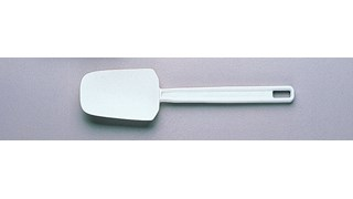 The Rubbermaid Commercial Spatula features traditional flat blades for scraping and spoon-shaped blades for easy spooning, scooping, and spreading.