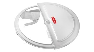 The Rubbermaid Commercial ProSave® s Liding  Lid and scoop for 121 L BRUTE® ingredient container