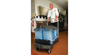 The Rubbermaid Commercial Ice Cart promotes safe transfer of ice to reduce risk of cross-contamination and improves employee safety.