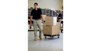 The Rubbermaid Commercial Triple Trolley efficiently transports large bulky loads and then folds flat for easy storage.