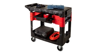 The Rubbermaid Commercial Utility Cart moves productivity right to the work site with a total tool storage and mobile workbench system.